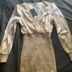 Fashion Nova In Charge Ivory Satin Dress